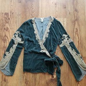 Anthropologie Odille Brand Velvet Blouse
